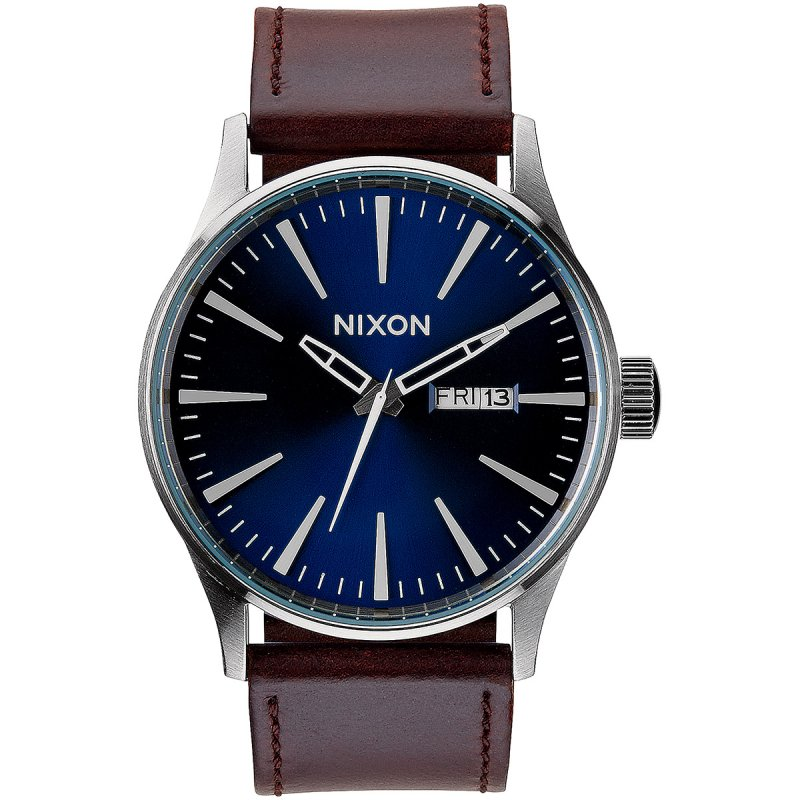 Nixon Sentry Leather Herrenuhr Dunkelblau Lederarmband A105-1524-00