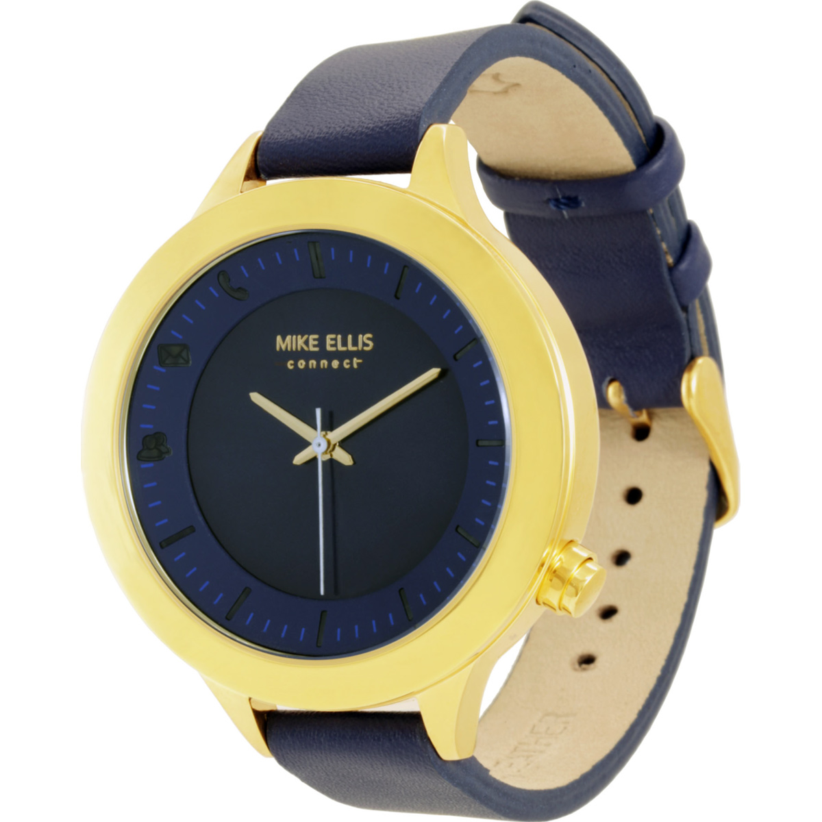 Mike Ellis Connect Watch Liz Edelstahl, Leder gelbgold/blau L4831B