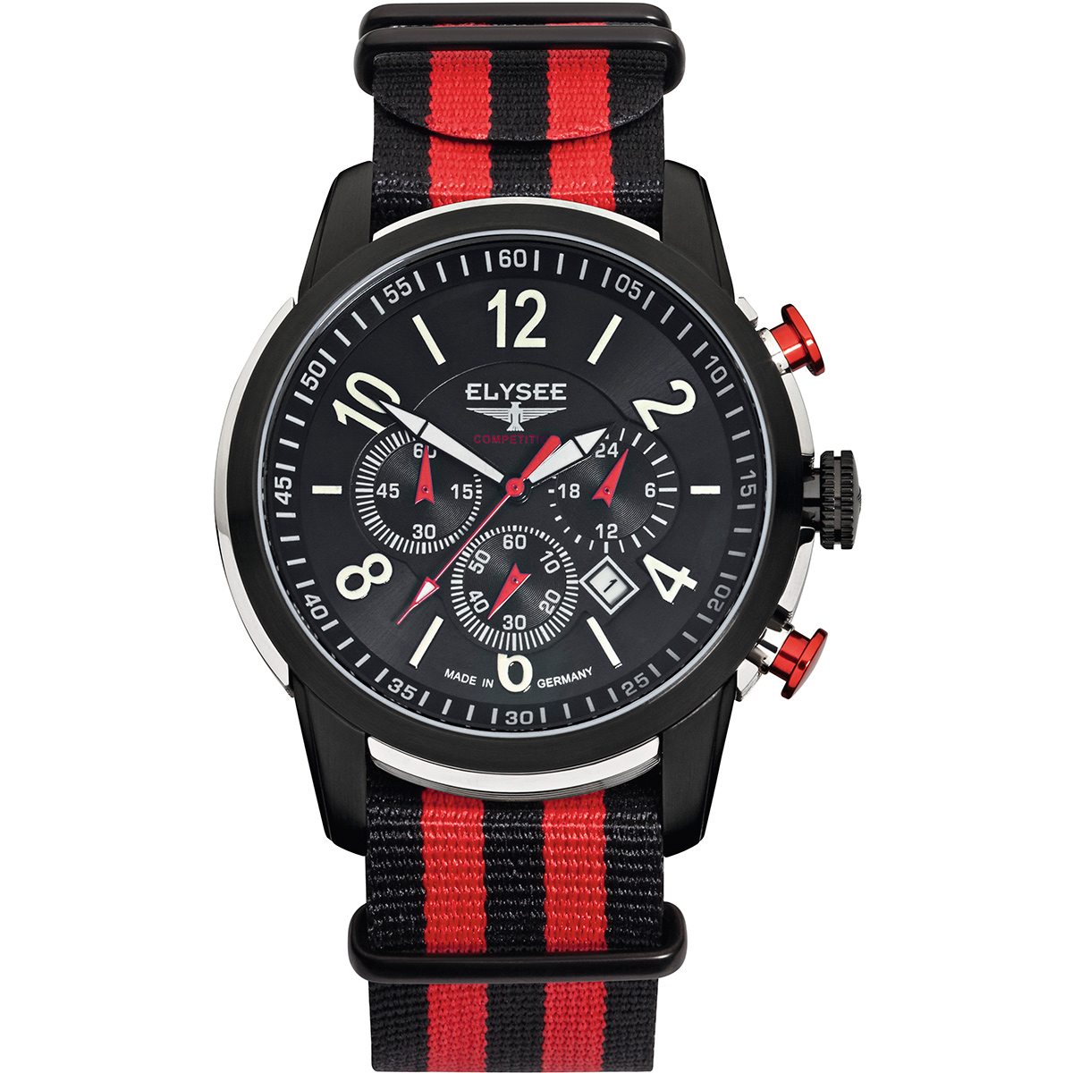 Elysee Competition-Edition The Race I Herrenuhr Schwarz-Rot Nylonarmband 80524