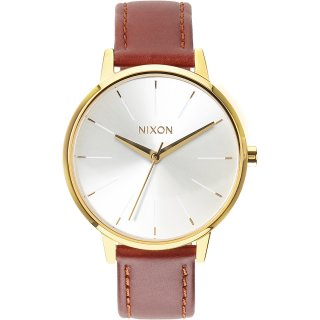 Nixon Kensington Leather Armbanduhr Goldfarben Lederarmband...