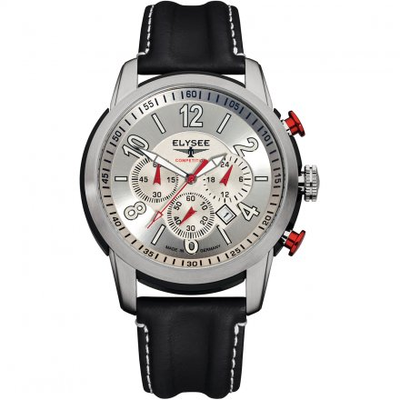 Elysee Competition-Edition The Race I Herrenuhr Silberfarben Lederarmband 80523L