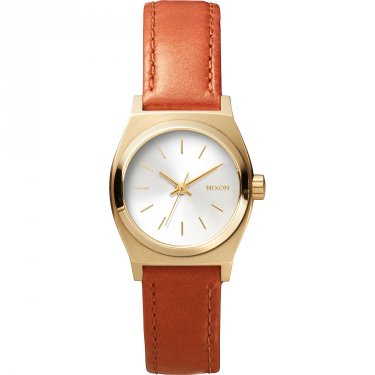 Nixon Small Time Teller Leather Damenuhr Silber-Goldfarben Lederarmband A509-1976-00