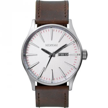 Nixon Sentry Leather Herrenuhr Silber-Rot Lederarmband A105-1113-00