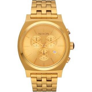 Nixon Time Teller Chrono Herrenuhr Goldfarben Metallarmband...
