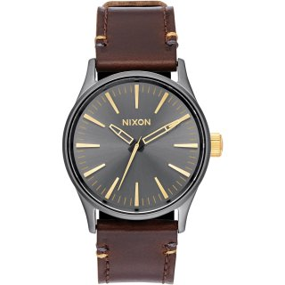 Nixon Sentry 38 Leather Armbanduhr Anthrazitgrau-Goldfarben...