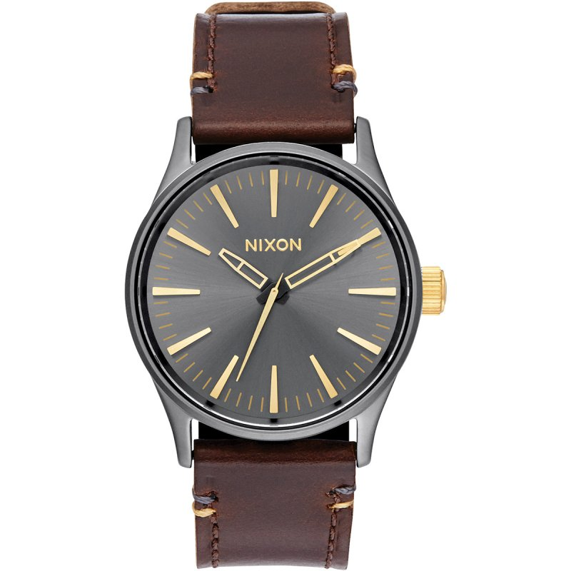 Nixon Sentry 38 Leather Armbanduhr Anthrazitgrau-Goldfarben Lederarmband A377-595-00