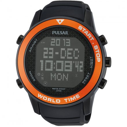 Pulsar X Herrenuhr Schwarz Orange Digital Chronograph Kautschukarmband PQ2031X1